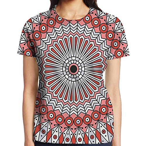 WuLion Colorful Ethnic Patterned Arabesque Ornament Ceiling Medieval Openwork Eastern Women's 3D Print T Shirt S (Openwork Christmas Ornament)