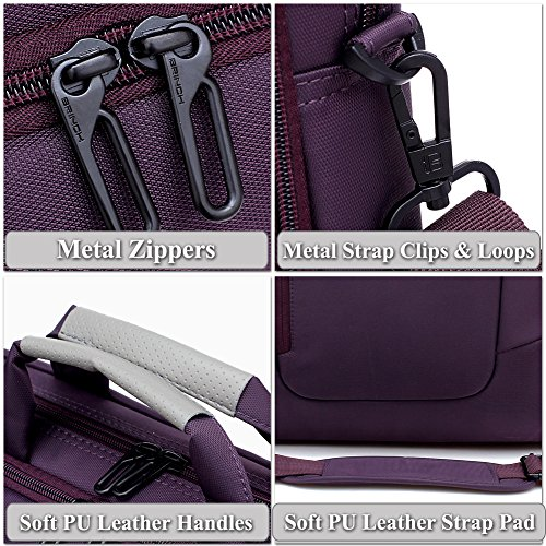 BRINCH Nylon Waterproof Laptop Case with Side Pockets for Macbook Pro Retina 15 inch Mini Asus/DELL/HP/Samsung ,15.6-Inch, Purple by BRINCH (Image #5)'
