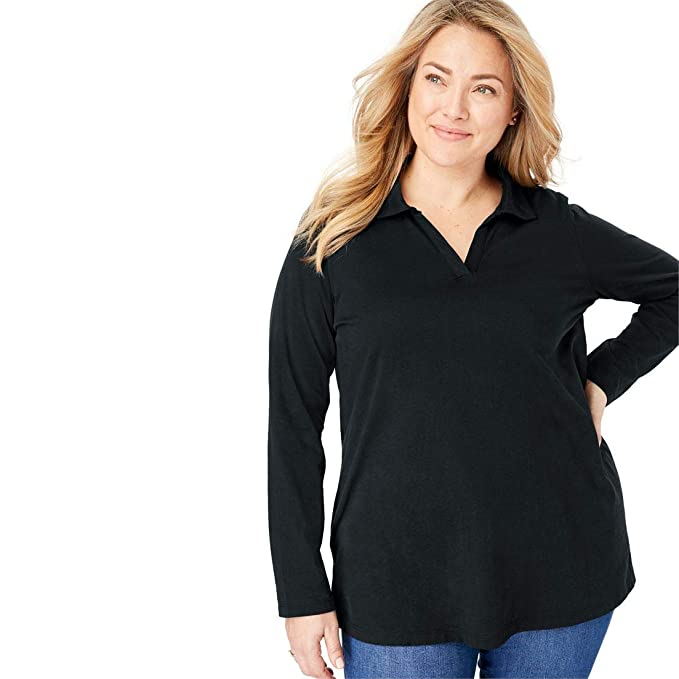 e7b23c59f3cea Woman Within Plus Size Perfect Open Collar Polo Long Sleeve Tee at Amazon  Women s Clothing store