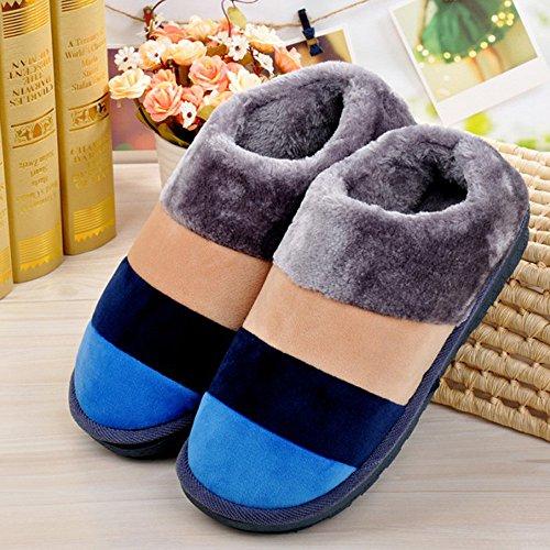 Ularma Deslizador del algodón para el hogar, piso raya suave zapatillas zapatos de algodón acolchado Azul