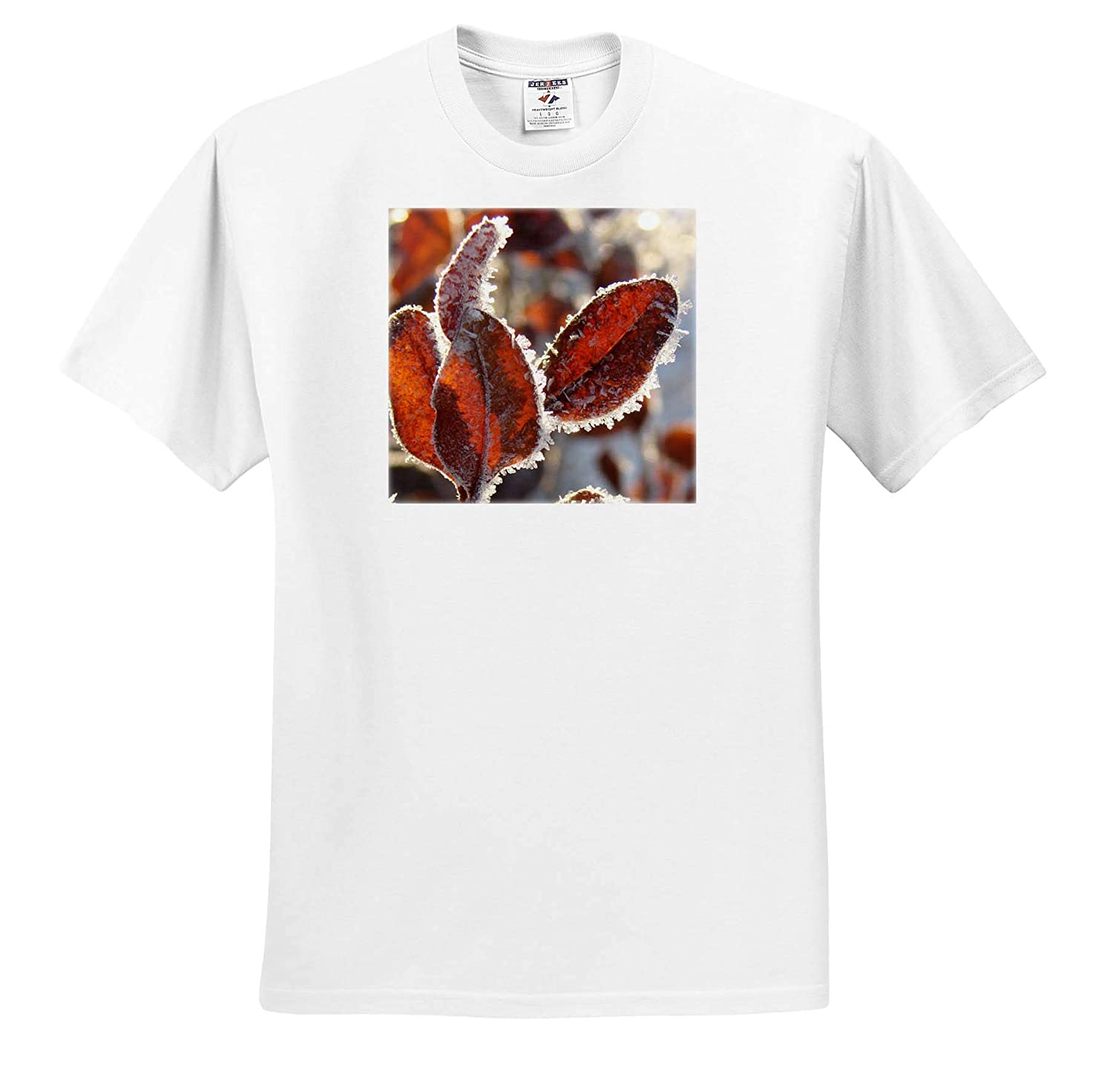 T-Shirts Hoar Frost on Winter Leaves 3dRose Cassie Peters Photography