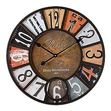 Vintage wall clock Big digital wall clock Living room Bar pub Industrial wind Decorative clock Vintage retro clocks-A diameter58cm(23inch)