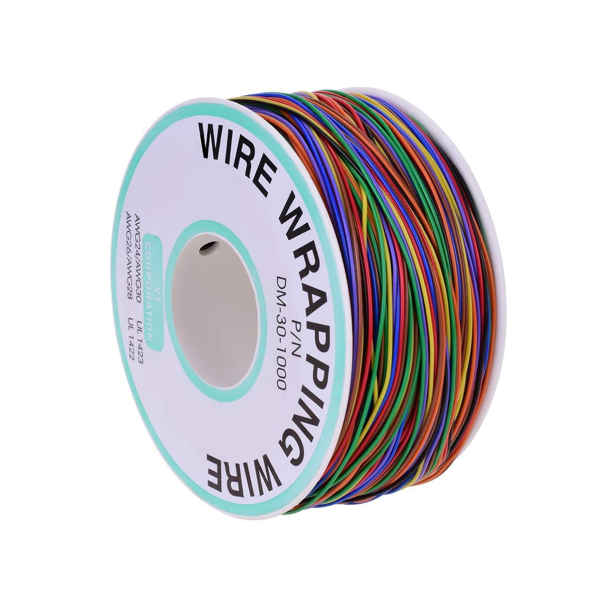 YoungRich Cable de Prueba de Aislamiento de 280 m Wrapping Cable de Cobre Estañado 30AWG 8