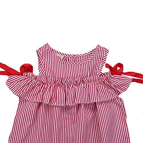 Volants Bande De Filles Weixinbuy Robes De Princesse D'été Sans Manches De Parti Rouge