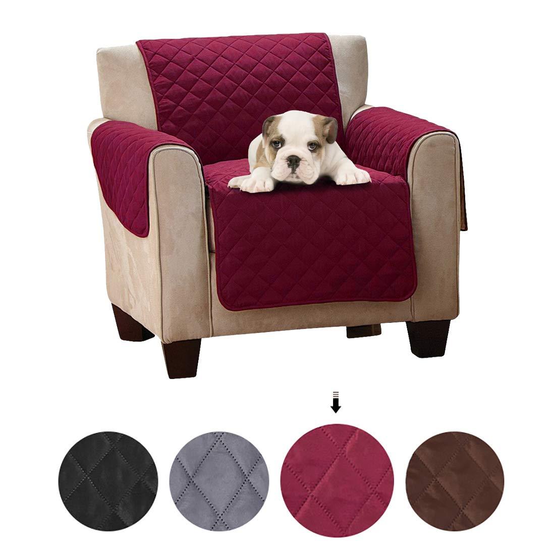 SearchI Fundas de Sofá 1 Plazas Impermeable Cubierta para Sofa Reversible Cubre de Sofa Antideslizante Protector para Sofás Muebles Acolchado contra ...