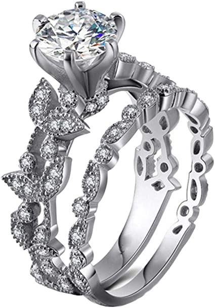 Womens 2 PCS Princess Cut CZ Bridal Engagement Wedding Ring Set Halo Eternity Love Anniversary Promise Ring Cubic Zirconia 925 Sterling Silver Ring Sets Haluoo 2-in-1 Wedding Band