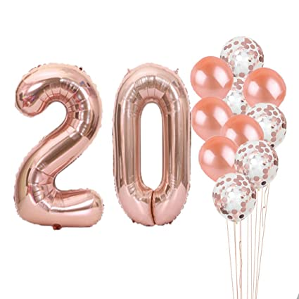 20th Birthday Decorations Party Supplies20th Balloons Rose GoldNumber 20 Mylar Balloon