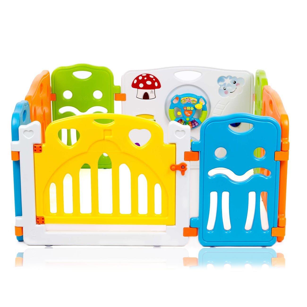 Baby Vivo Parque corralito plegable puerta robusto plastico bebe barrera de seguridad jugar Colors de Plástico - Paquete principal