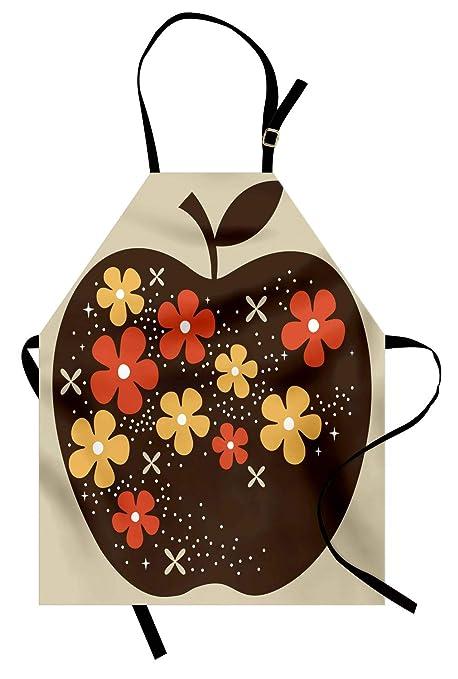 ABAKUHAUS Moderno Delantal de Cocina, Vector Gran Manzana, Estampa ...