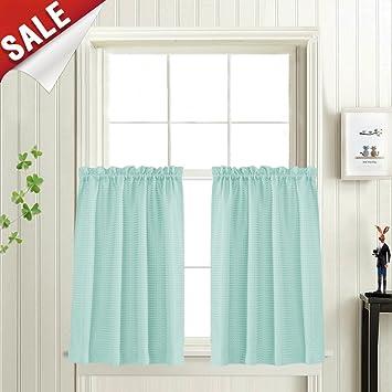 amazon com tiers aqua blue 36 inch kitchen cafe window curtain rh amazon com Turquoise Blue Bird Curtains Antique Kitchen Curtains