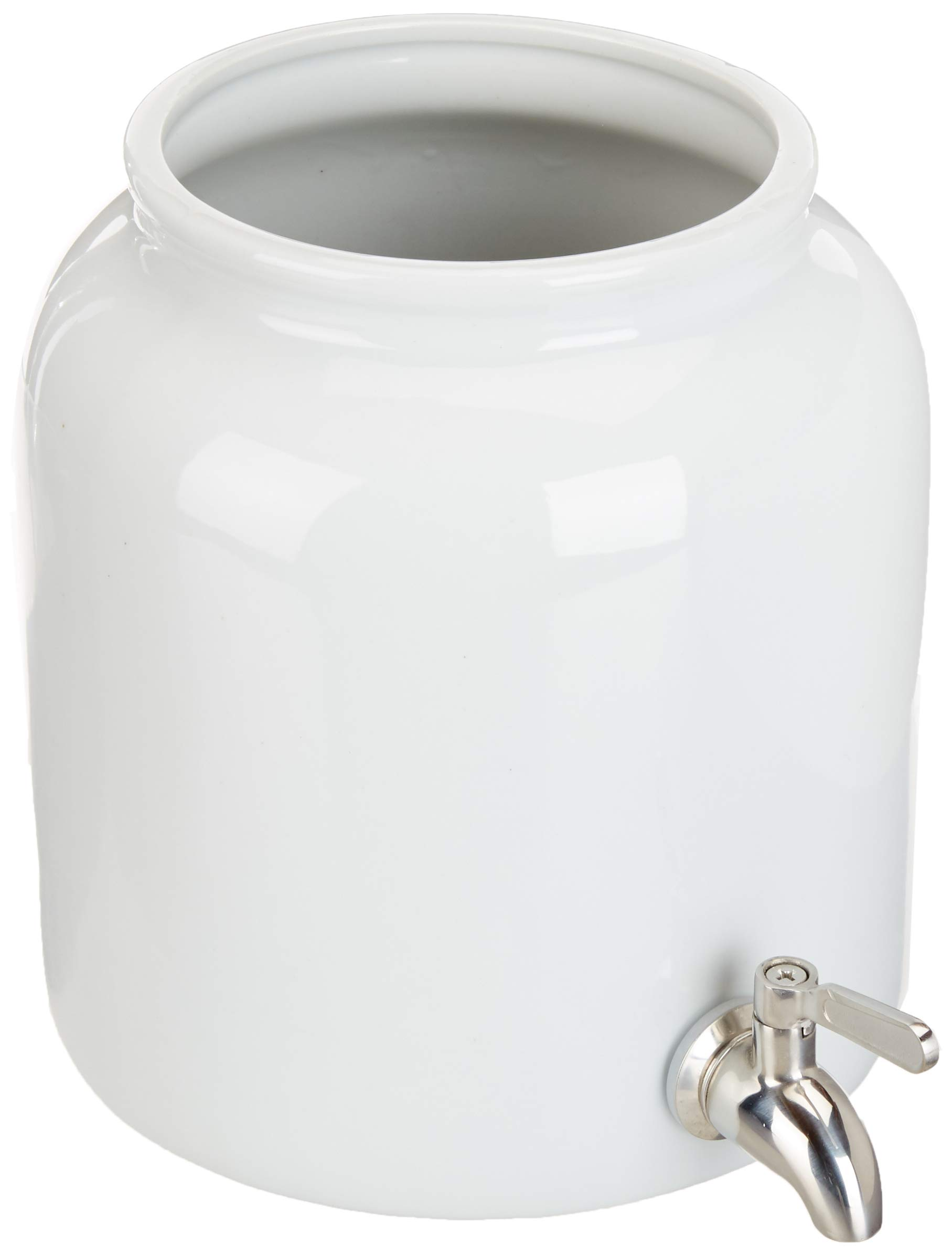 Continuous Brew Kombucha Jar with Stainless Steel Spigot, 5 Liter (1.3 Gallon) Ceramic Kombucha Brew Vessel for Continuous Kombucha Batches with Cotton Cloth and Rubber Band (Natural White)