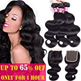Brazilian Body Wave 3 Bundles with Closure 100% Unprocessed Virgin Human Hair Body Wave with Lace Closure Nature Color (18 20 22&16 Closure Three Part)