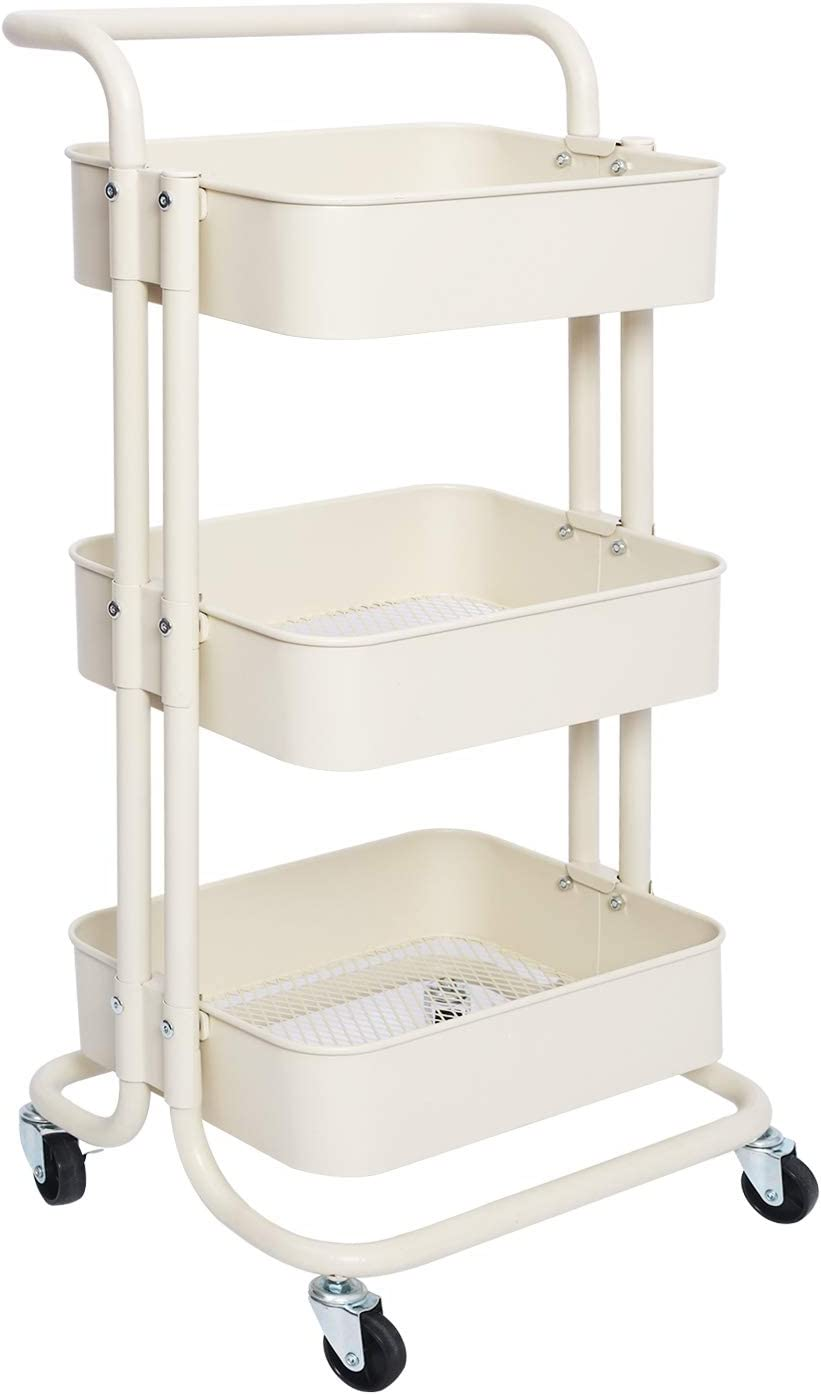 AUTENPOO 3-Tier Rolling Utility Cart with Metal Handle Trolley and 2 Lockable Wheels for Makeup Shopping Office Bathroom Kitchen Craft Organizer and Storage (White)