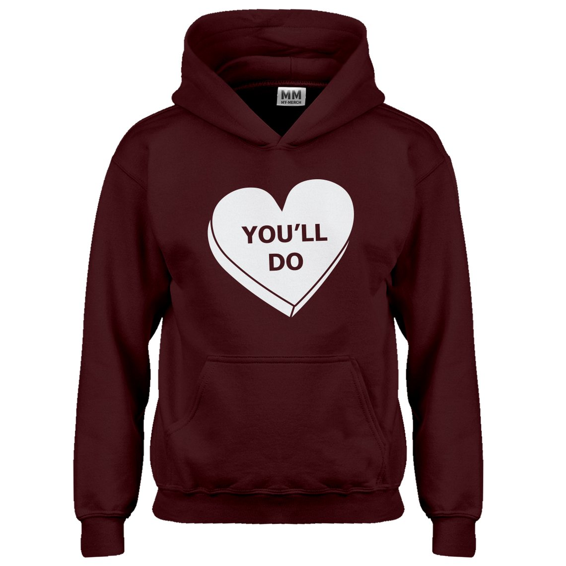 Indica Plateau Kids Hoodie You'll Do Valentines Day Small Maroon Hoodie