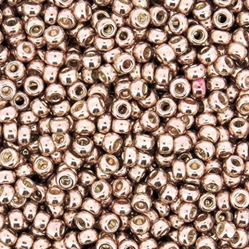 Galvanized Lt Rose Gold Miyuki Japanese round rocailles glass seed beads 11/0 Approximately 24 gram 5 inch - Gold Seed Glass