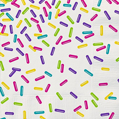 "3 Packs of 16 Unique 6.5"" x 6.5"" Rainbow Sprinkles Party Napkins bundled by Maven Gifts"