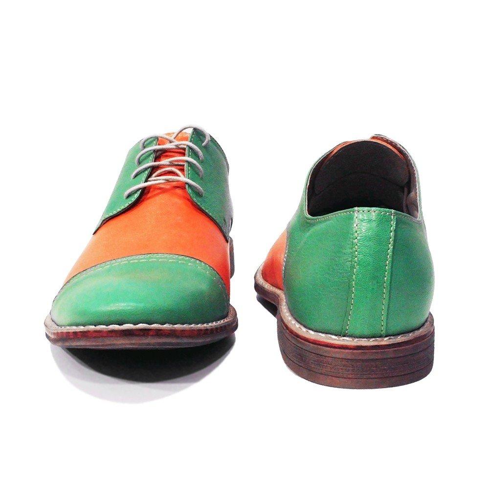Modello Muono - Cuero Italiano Hecho A Mano Hombre Piel Naranja Zapatos Vestir Oxfords - Cuero Cuero Suave - Encaje: Amazon.es: Zapatos y complementos