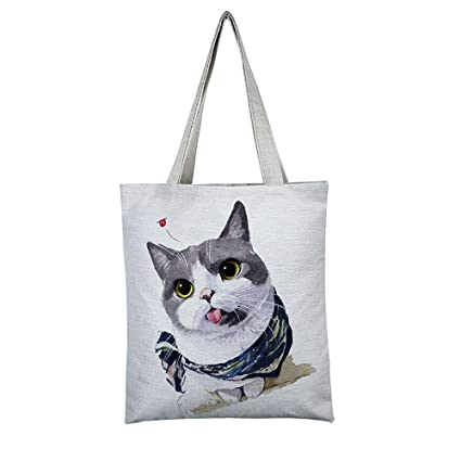 b7e179debe Reusable Shopping Bag Fmeida Canvas Grocery Shoulder Bag for Women Girls-Cat  Print  Amazon.co.uk  Kitchen   Home