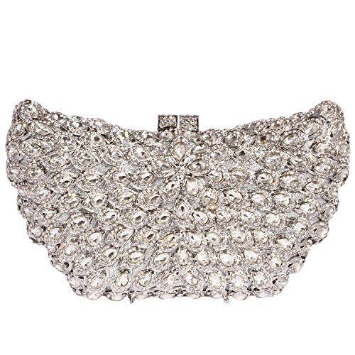 Silver Crystal Big Evening Rhinestone Clutch women Digabi Purses Wings Bags XzqanxZS