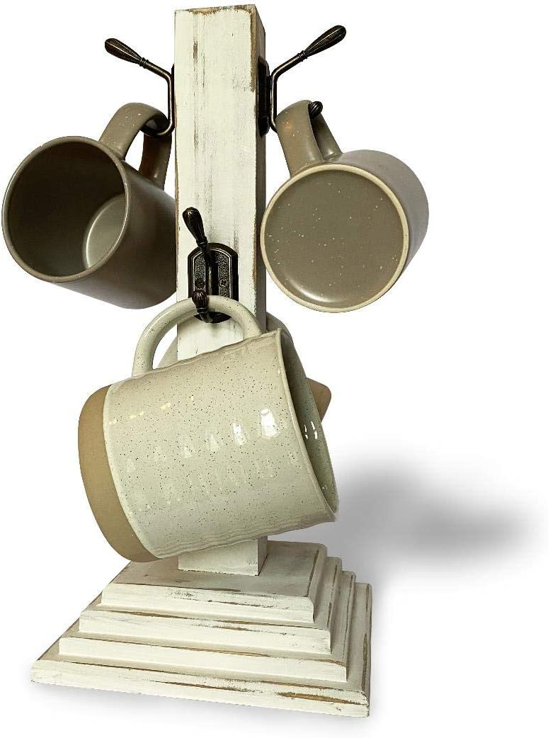 TNT Dynamics-15in-4 Hook-Coffee Mug Holder for Coffee Bar Station and Kitchen Counter Storage-Tree Rack Accessory Organizer-Rustic Farmhouse Whitewash Decor