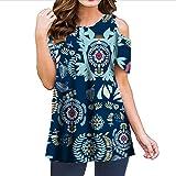 Amlaiworld Women Plus Size Tunic Shirt Ladies Flowers Cold Shoulder T-Shirt Round Neck Tank Casual Tops Blouse Blue