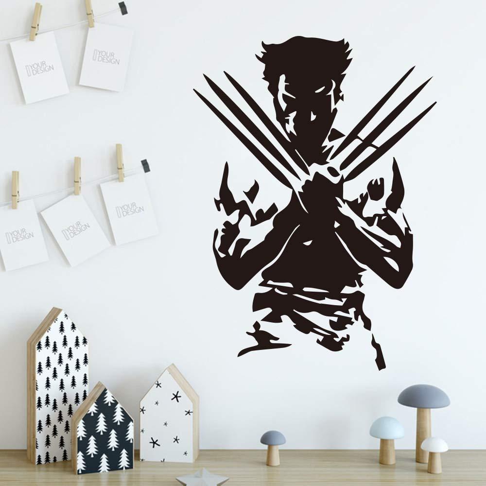 zxddzl Adesivi murali Wolverine Super Hero Wall Stickers per Camera da Letto Camera dei Bambini Decorazione Accessori Rimovibile Wall Decor Sticker Murals-41x30cm