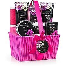 Mother's Day Gift - Spa Gift Basket- Enchanted Orchid Scent, Luxury 9 Piece Bath & Body Set Men/Women, Contains Shower Gel, Lotion, Body Butter, Bath Salt, Massage Oil, Scrub, Towel, Loofah & Basket