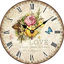 Yesee 16'' Large Wall Clock, Quiet Clock No Ticking Noise, Wooden Clock Battery Operated with Famous Mechanism, [NO CASE] Vintage Wood Clock Decorative for Living Room,Bedroom (16 Inch, Yellow Rose)
