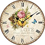 Yesee 16'' Large Wall Clock Quiet Clock No Ticking Noise Battery Operated with Famous Mechanism, [NO CASE] Vintage Wall Clock Decorative for Bedroom Kitchen (16 Inch, Yellow Rose)