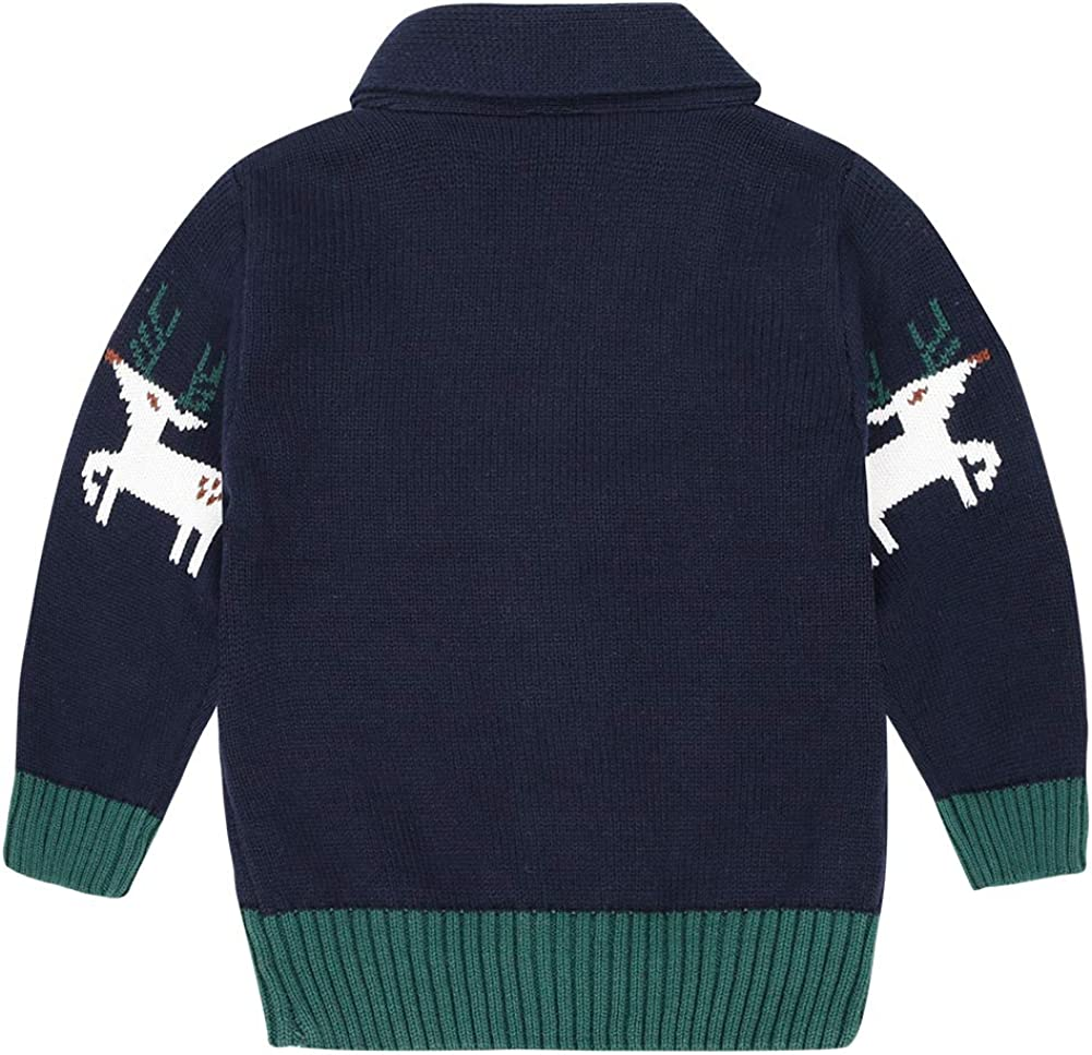 CARETOO Baby Boys Girls Cardigan Sweater Christmas Deer Long Sleeve V-Neck Button Down Cotton Jacket