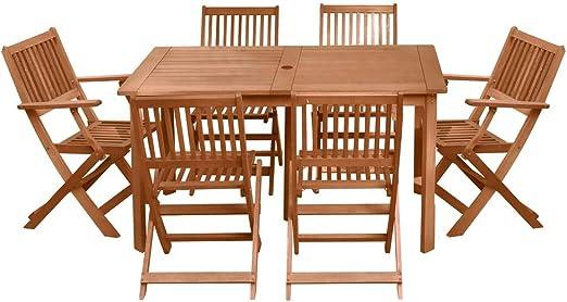 Conjunto de Mesa y sillas para jardín marrón de Madera Garden - LOLAhome: Amazon.es: Jardín