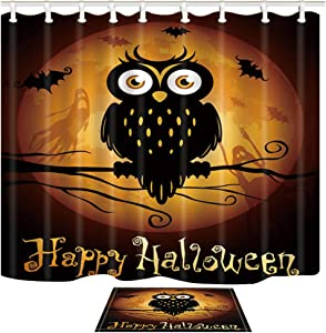 Shocur Happy Halloween Shower Curtain Set, Funny Cute Owl and Golden Yellow Moon Ghost, Bathroom Decor Polyester Fabric 69 x 70 Inches with 12 Hooks and Non-Slip 15 x 23 Inches Bath Rug