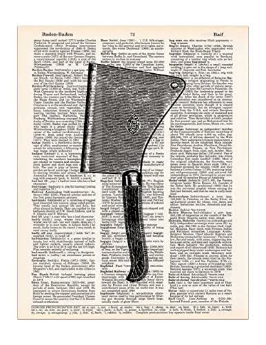 Meat Cleaver Vintage Drawing, Dictionary Page Art Print, 8x11 UNFRAMED