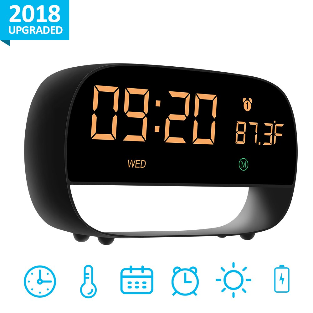 [2018 Version] Digital Alarm Clock, Touch Control Large LED Display with 12/24 Time, Date, Temperature and Night Vision, Powered by USB or Battery