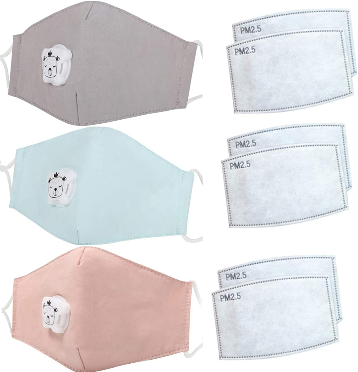 3 máscaras de boca para niños con válvula de respiración + 6 filtros de carbón activado PM2.5 de algodón lavable