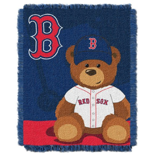 The Northwest Company MLB Boston Red Sox Field Bear Woven Jacquard Baby Throw, 36