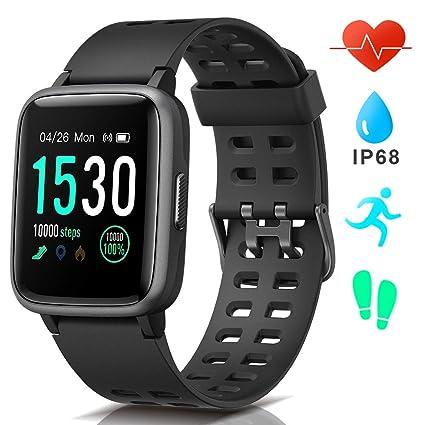 AIMIUVEI Smartwatch, Reloj Inteligente Impermeable IP68, Pulsera Actividad Inteligente con Pulsómetro Monitor de Sueño GPS Podómetro Smartwatch Hombre ...