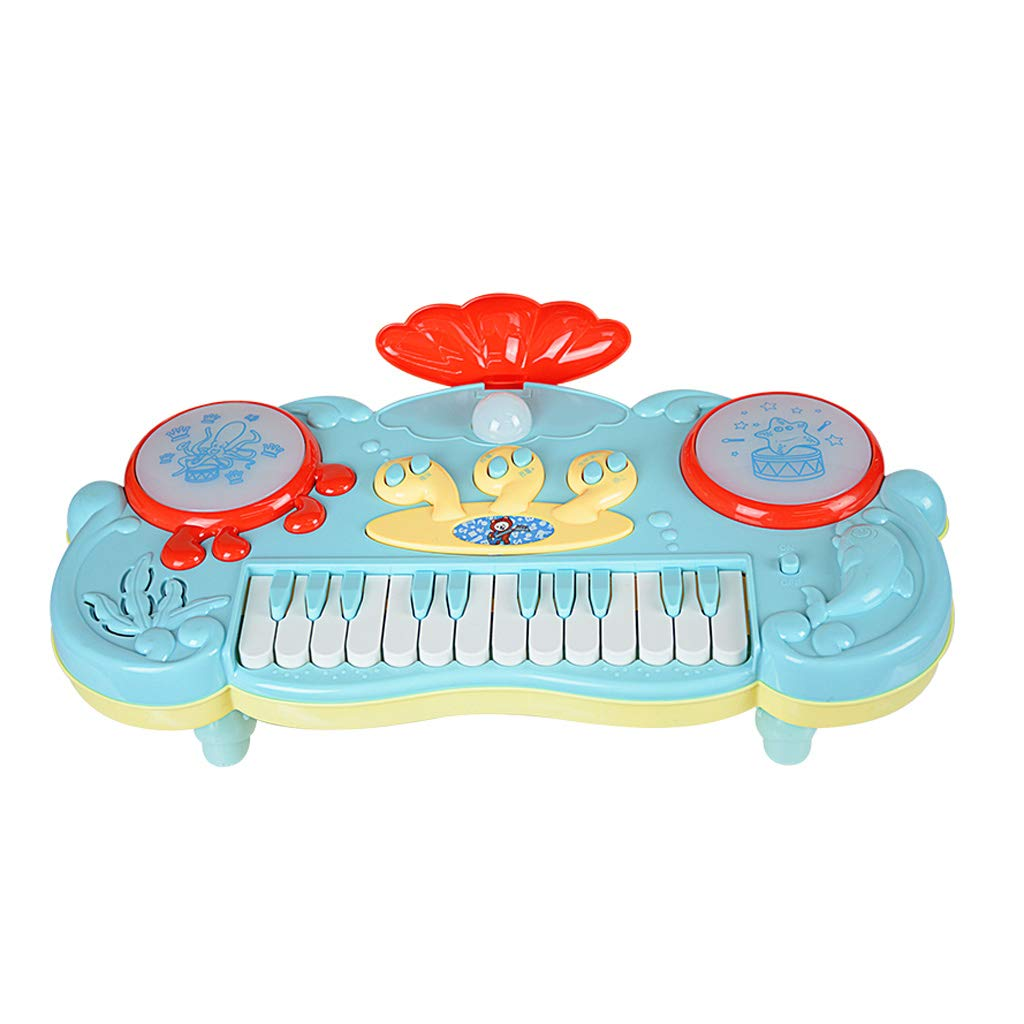 QARYYQ Microphone Baby Toy Children Fun Story Music Electronic Piano Microphone Kids Keyboard Piano (Color : Blue) by QARYYQ