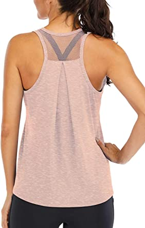 Fihapyli Womens Workout Tank Tops Breathable Mesh Backless Tank Yoga Tops