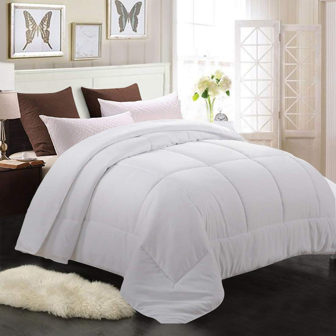 Soft Quilted Down Alternative Duvet Insert with Corner Tabs,Summer Fluffy Reversible Hotel Collection Comforter Gray,64x88 inch MEROUS Twin Comforter