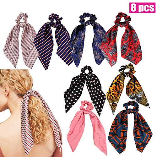 (Stain Scrunchies for Hair,8 Pcs Hair Ties Bow with Hair Ribbon Hair Bands, 2-in-1 Hair Ponytail Holder with Hair Scarf Ropes for Women Girls (Bohemia,Stripped,Navy Dot,Pink,Leopard Print,Geometrics))