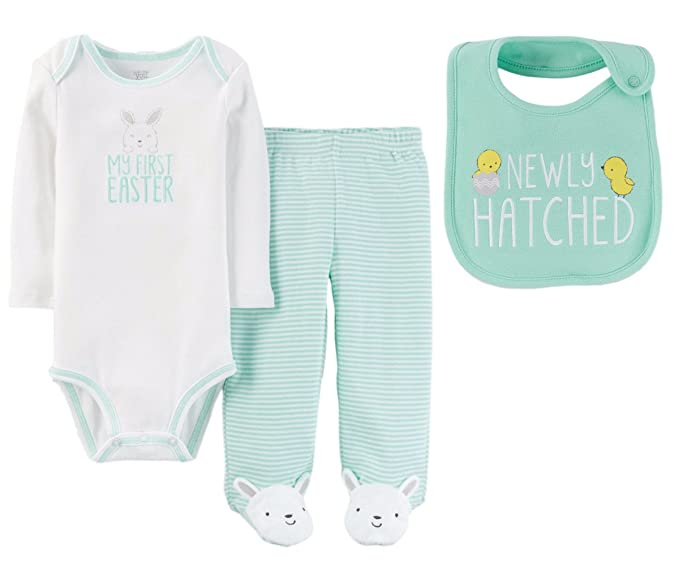 94c09e4e9b45 Amazon.com: Just One You by Carters Baby Boys or Girls My First Easter Bodysuit  Pants Set with Bib (6 Months, Mint Green and White - My First Easter): ...