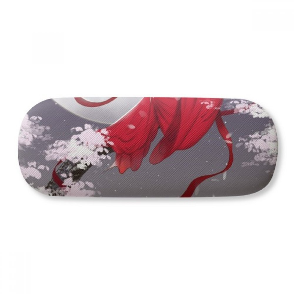 Red Moon Chinese Style Watercolor Glasses Case Eyeglasses Clam Shell Holder Storage Box