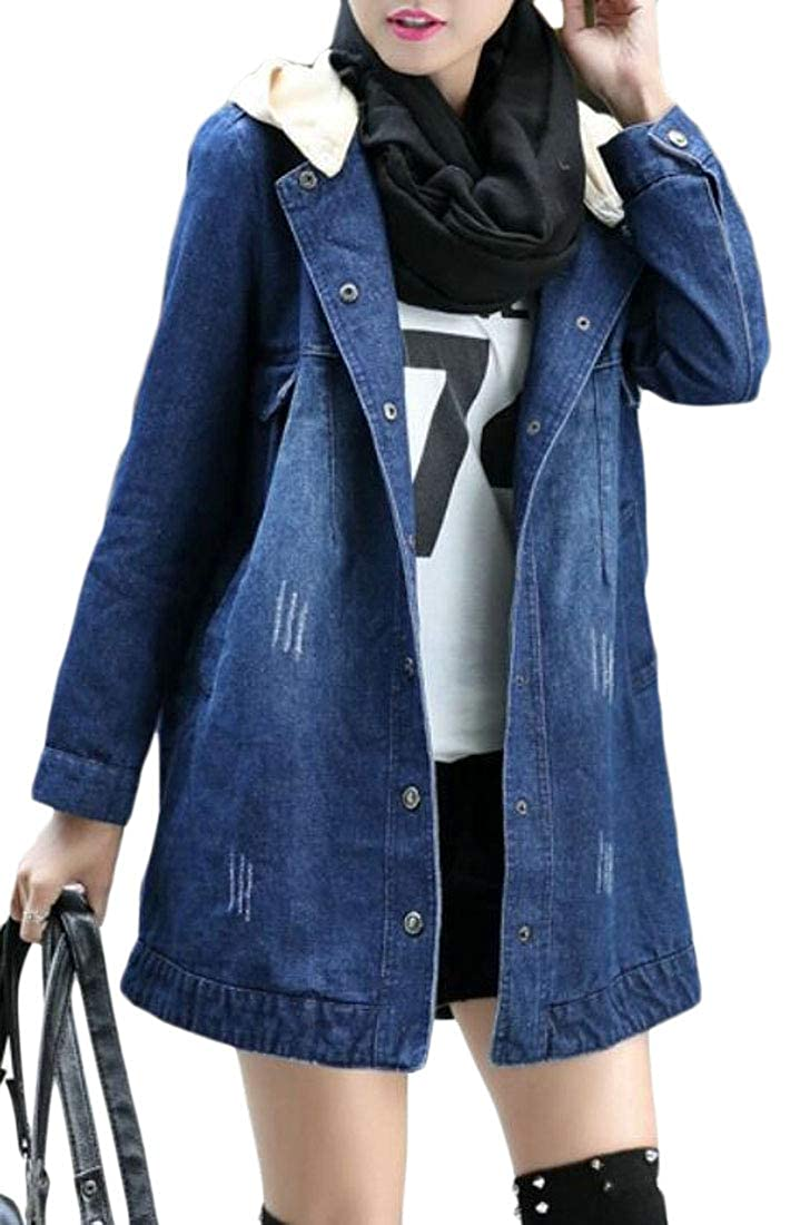 a15cbd2a1ad95 Amazon.com  Cromoncent Womens Plus Size Hooded Sherpa Lined Winter Thicken  Denim Parkas Coat  Clothing