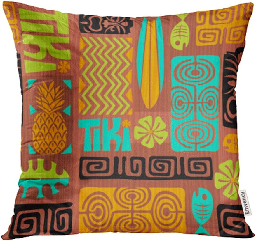 Emvency Decorative Throw Pillow Case Cushion Cover Colorful Plumeria Exotic Tiki Pattern Abstract Ethnic Fish Flower Hawaii Hawaiian 20x20 Inch Cases Square Pillowcases Covers Two Sides Print
