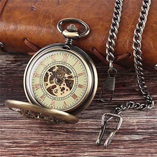 YXZQ懐中時計、女性男性ギフトブロンズレトロペンダントチェーン用ヴィンテージ機械式自動時計ケース