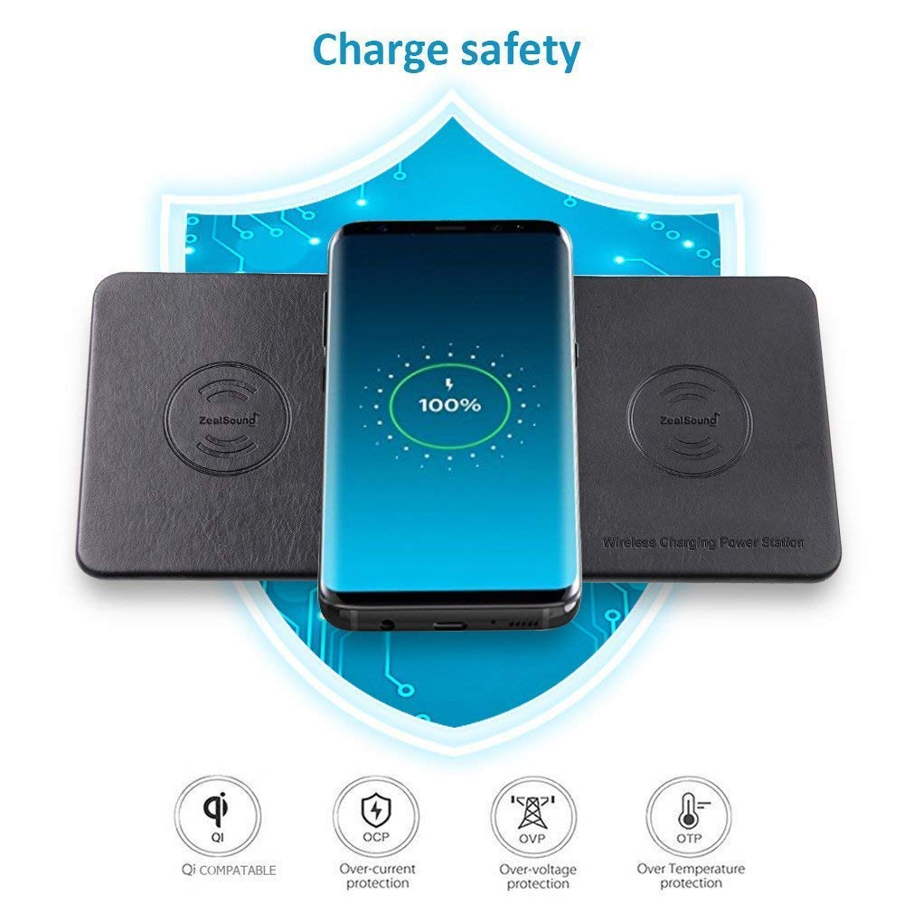 Zealsound Wireless Charging Pad Qi Charger Multiple Couk Ks Tools Short Circuit Protection Overvoltage 12v Triple Devices Premium Leather Station Only For Iphone Samsung And All Enabled Phones Electronics