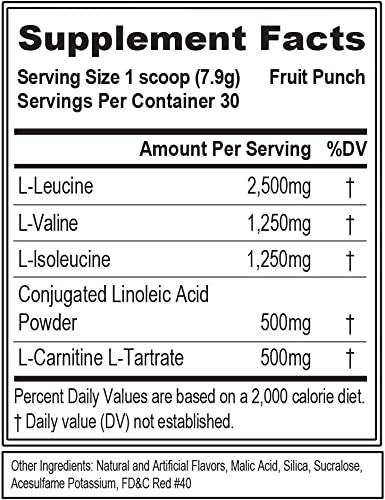 Evlution Nutrition LeanBCAA, BCAA s, CLA and L-Carnitine, Stimulant-Free, Recover and Burn Fat, Sugar and Gluten Free, 30 Servings Fruit Punch