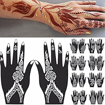 Sanwood - Hand Tattoo Stickers, 2 Pcs Henna Stencil Temporary Hand Tattoo Body Arts Sticker Template Tools size 101