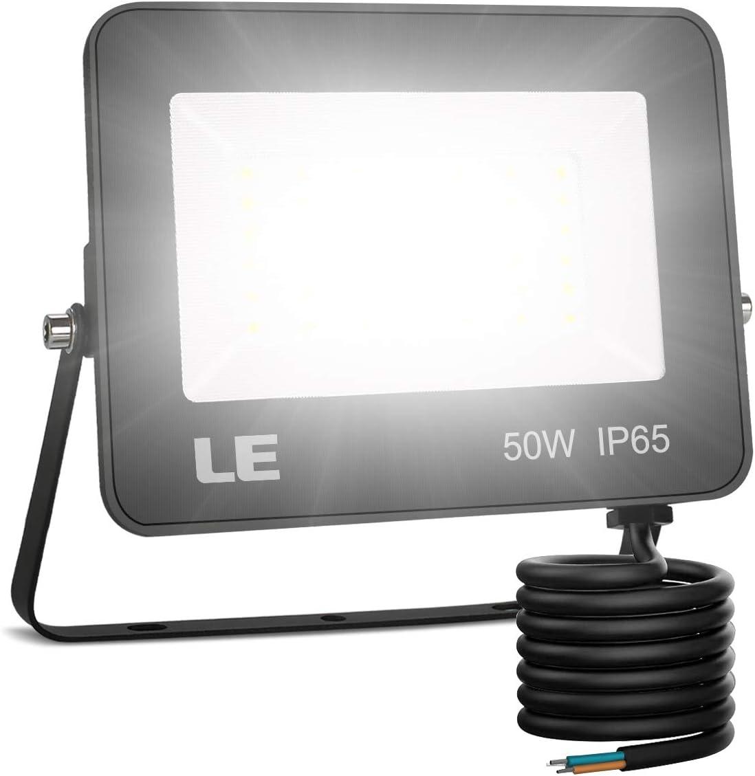LE Foco LED 50W, 5000 lúmenes, IP65 resistente al agua, Foco LED Exterior, Blanco Frío 5000 K, Ángulo de haz 120°, Foco Proyector LED para Jardín, Garaje, Hotel, Patio, etc.